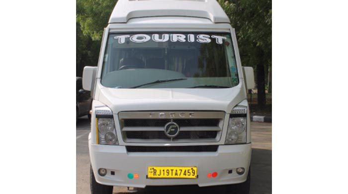 force 12 seater tempo traveller on rent jodhpur front
